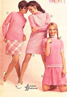 Teen Skirts from a 1968 catalog. #1960s  This is how we dressed in high school. We used to roll our skirts at the waist because they couldn't be shorter than just above the knee for school.  Ha!  After school, we'd hike them back up.    .  Ha!
