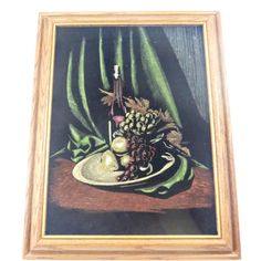 Vintage Framed Black Velvet Painting Still Life Wine Fruit  Approximate Measurements: Frame - 18.5 inches by 14.5 inches by 1.75 inches Inside