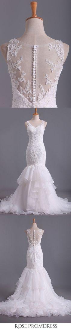 2019 V Neck Wedding Dresses Organza With Applique