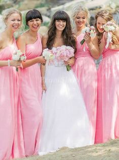 Funny  Unique  Silly Bridesmaid photo  Guava bridesmaid dresses from     Glowing Candy Pink Sleeveless A line One shulder Long Bridesmaid Dresses