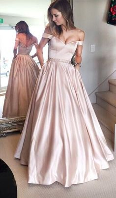 2017 Pearl Pink Prom Dresses Off-the-Shoulder Beading with Pockets Puffy Evening Gowns