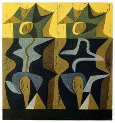 Peter Green OBE 'Sun Totems' woodcut and stencil print https://www.stjudesprints.co.uk/collections/peter-green