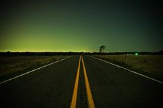 road in farmersville night photography with long exposure