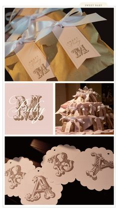 Monogram baby shower favors (use decorative edge punch on top of bag before folding over)