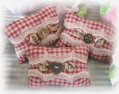 Mini Pillow Sachets Set of 3 Brick Red Check by CharlotteStyle, $14.00