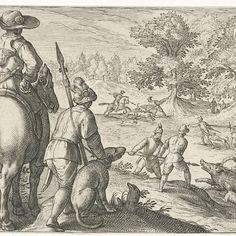 Landschap met jacht op wilde zwijnen, Egbert Jansz., after Antonio Tempesta, 1598 - Rijksmuseum