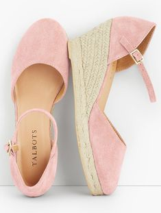 Shop Talbots for modern classic women's styles. You'll be a standout in our Lyndsay D'Orsay - Silk Suede Espadrilles - only at Talbots! Pretty Shoes, Beautiful Shoes, Mode Shoes, Pink Wedges, Casual Boots, Crazy Shoes, Summer Shoes, Girls Shoes, Moda Femenina