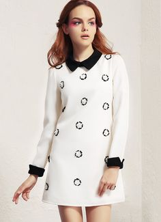 White Long Sleeve Bead Flowers Embellished Dress - Fashion Clothing, Latest Street Fashion At Abaday.com