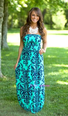 The Pink Lily Boutique - Yours Truly Damask Maxi Aqua, $39.00 (http://thepinklilyboutique.com/yours-truly-damask-maxi-aqua/)