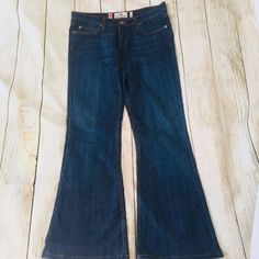 Juicy Couture Womens Dark Blue Jeans Cotton Mid Rise Flared Leg Cut Size 29 #JuicyCouture #Flare