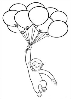 curious george with balloons coloring pages: curious george with balloons coloring pages