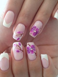 Flower French nails, flower nail art, French manicure 2016, french manicure news 2016, June nails, Manicure 2016, Manicure by summer dress, Spring french manicure
