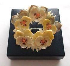 Vintage Art Deco Handmade Shell Pansy Flower Garland Brooch | eBay