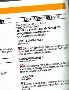 Puntuaciones #peñín, guía hispanoamericana, #losada #bierzo #vinos #mencia #bodegas