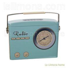 Caja radio retro metal turquesa