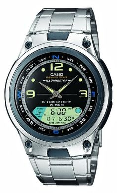 Casio AW82D1AVES Gents Watch Quartz Analogue Black Dial Silver Steel Strap * Click image for more details.