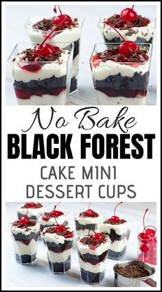 The Black Forest Cake Mini Dessert Cups are dashing with layers of chocolate cake crumble, whipped cream and cherries. It's a simple and beautiful small version of our favorite classic cake in DLux mini dessert cups. Mini Desserts, Shot Glass Desserts, Mini Dessert Recipes, Layered Desserts, Individual Desserts, Small Desserts, Easy Desserts, Delicious Desserts, Cheesecake Recipes