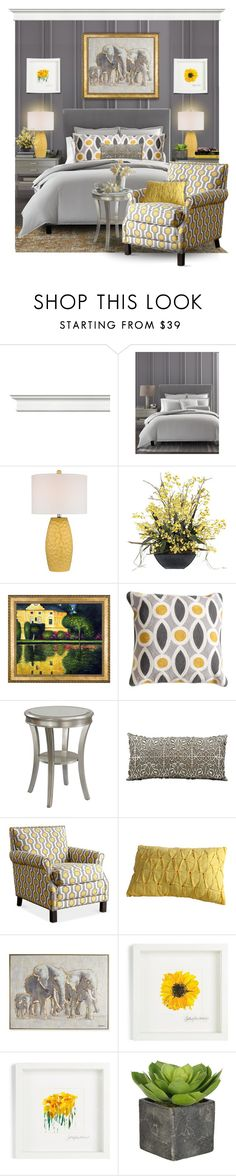 """Sunshine + Clouds"" by rotunda ❤ liked on Polyvore featuring interior, interiors, interior design, home, home decor, interior decorating, Hotel Collection, Dimond, Frontgate and Christopher Knight Home"