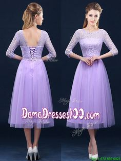 5b3281fad Latest Half Sleeves Tea Length Laced Dama Dress in Lavender