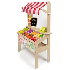 Toys Wooden Farmers Market Stand - Kid's Playroom Furniture Grocery Stand for Pretend Play Pieces) - Includes Fruit, Chalkboard, Chalk, and Cash Register Kids Playroom Furniture, Playroom Storage, Playroom Decor, Lp Storage, Record Storage, Deco Buffet, Kids Market, Play Market, Vegetable Stand