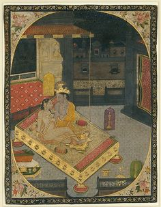 Radha and Krishna on a Bed at Night: