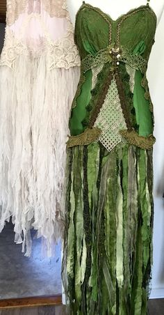 Green goddess dress  elven  woodland  tattered by RAWRAGSbyPK