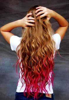Punk Glam Red Temporary Dip Dye Hair Chalk