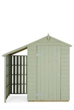 Shed with extended roof for outdoor storage--pretty smart and a great place to store bikes.