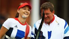 Amy #Oliver all smiles as she beats India's Deepika Kumari  Amy Oliver of Great Britain smiles with her coach on her way to victory over Deepika Kumari of India