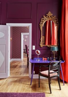 "Unusual color groups: "" Purple on purple on red. Bright Bazaar via Emerald Green Interiors. "" via apartment therapy. Home Office Inspiration, Decoration Inspiration, Design Inspiration, Office Ideas, Decor Ideas, Fall Color Schemes, Color Combos, Pantone Colour Palettes, Pantone Color"