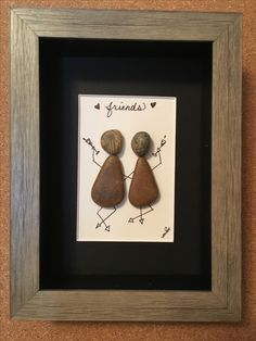 "Hand Crafted Pebble Art ""Friends"" $25 5x7 white washed frame with black matt. Pick up in Holland Michigan (or can be shipped via insured FedEx, at buyers expense)"