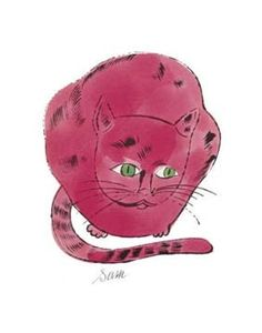 """Warhol: """"Sam"""" the cat -lives in my kitchen.  Warhol did an extensive study of his friends' cat, Sam-the drawings were later published into a book."""