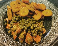 Plantain chips And peas. Too delicious