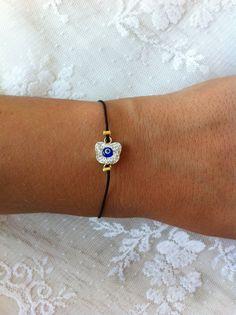 Black String Evil Eye Butterfly  Bracelet by santorinijewellery