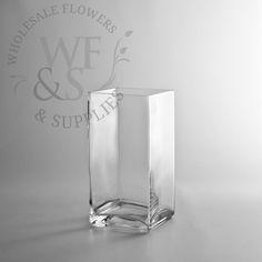 "8"" Tall x 4"" Glass Block Vase - WholesaleFlowersAndSupplies.com"