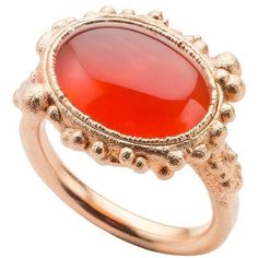 Milena Kovanovic Carnelian Rose Gold Vermeil Silver Ring ($380) ❤ liked on Polyvore featuring jewelry, rings, red, hammered ring, hammered silver ring, handcrafted silver rings, silver druzy ring and silver band ring