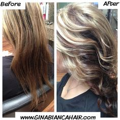 Lowlights for fall ! Red lowlights www.GINABIANCAHAIR.com  Blonde hair Dimensional hair color