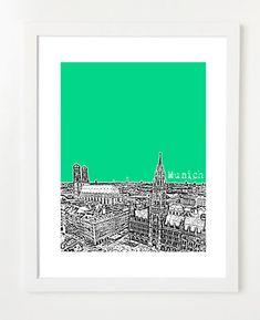 Munich Germany Skyline Art Print - City Skyline Series Poster - 8x10 **OPTIONS** 1. Personalize / Add Wording: