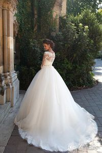 Vintage Lace 3/4 Long Sleeve Ball Gown Wedding Dresses Milla nova 2016 Sheer Neckline White Tulle Bridal Gowns with Covered Buttons