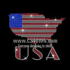 American Map with Bling USA Iron on Glitter Rhinestone Transfer Motif