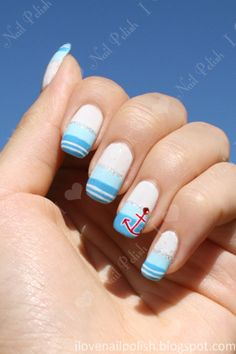 Nautical Themed Nail Art by i love nail polish. . ., via Flickr