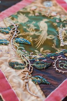 quilting - - - Betty Pillsbury Tames More Than The Velvet Beast- It's an absolutely stunning quilt to see in person and I can see why it has won so many awards. A showcase for lots of beautiful examples for using velvet . ~Plays With Needles Crazy Quilt Stitches, Crazy Quilt Blocks, Crazy Quilting, Silk Ribbon Embroidery, Embroidery Stitches, Hand Embroidery, Embroidery Patterns, Crazy Patchwork, Crochet Motifs