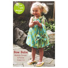 Designed by Olive Ann Designs, this pattern contains detailed instructions and pattern pieces to make your own bubble dress and matching purse.  Sizes range from girls 1-6.  <br><a href=https://s3.amazonaws.com/fabric-pdf/0333178-1.jpg>Click here for pattern back.</a>