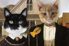 grant woods with cats american gothic | Caturday Art Hop with the American Gothic Cats