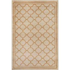 Trellis Contemporary Modern Design Cream 3 ft. 3 in. x 5 ft. Indoor Area Rug