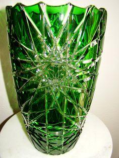 Bohemian Czech Emerald Green Cut to Clear Cased Lead Crystal Vase