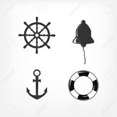 Conjunto de iconos náuticos en blanco y negro. Ilustraciones Vectoriales.