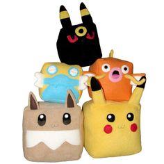 Pokemon Eevee Cubee Cube Plushie Stuffed by fleacircusdesigns