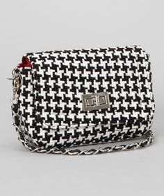 This Black & White Houndstooth Shoulder Bag by Turnovers, Inc. is perfect! #zulilyfinds