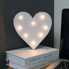 Wooden 'Heart' Battery Light Up Circus Letter, Warm White LEDs, 16cm